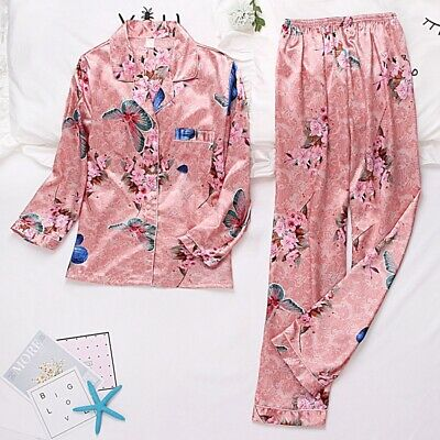 Womens Ladies Long Sleeve Satin Print Pyjamas Pyjama PJ Nightwear Set Homewear