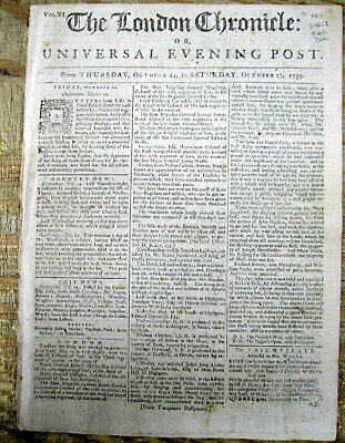 1759 newspaper FRENCH & INDIAN WAR Canada BATTLE of QUEBEC Wolfe & MONTCALM DEAD