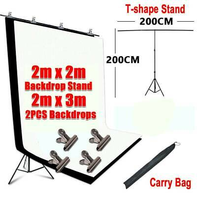 Photo Studio T type Background Support Stand Kit Black White Screen Backdrop Set