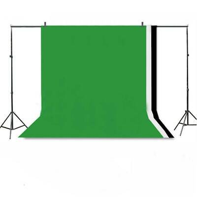 Photo Studio Background Support Stand + Black White Green Screen Backdrop Set