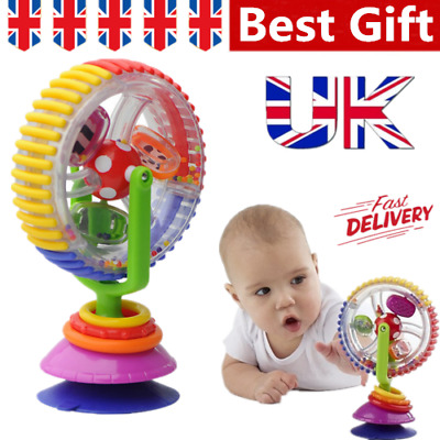 Baby Kids Rainbow Ferris Wheel Fun Rattle Clanking Suction High Chair Toys Gifts