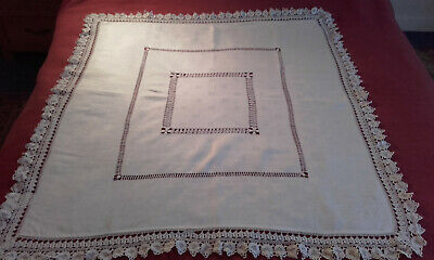Antique VICTORIAN IRISH LINEN tablecloth with crochet lace edge