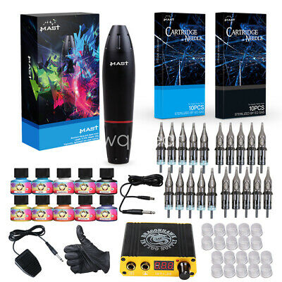 Dragonhawk Mast Tattoo Kit Motor Pen Machine Gun Color Inks Power Supply Needles
