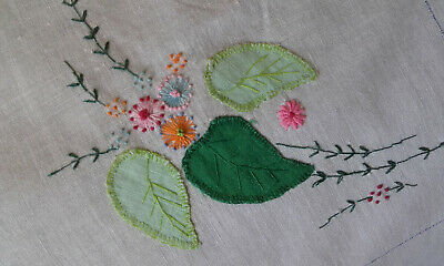 "Antique hand embroidered tablecloth 34"" x 34"""