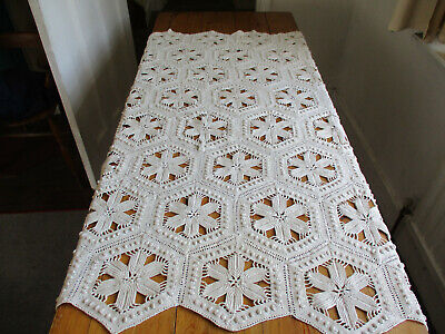 "VINTAGE HAND MADE CROCHET TABLE COVER PATCHWORK POLYGON SHAPES 35"" x 47"""