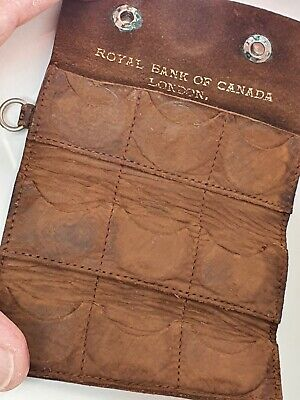 Antique Leather Royal Bank of Canada Sovereign Case. Hold 9.
