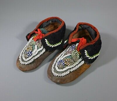 Pair of Antique North American Indian Beaded Leather Moccasins