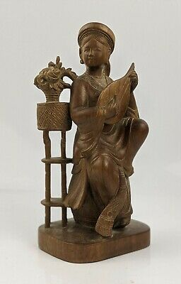 Chinese Antique Carved Wood Figure of a Female Musician c1900 Qing Fine Quality