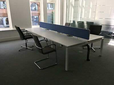 Bank Of 4 Modern White Desks / Work Stations With Screens And Cable Trays