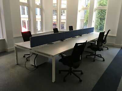 Bank Of 6 Modern White Desks / Work Stations With Screens And Cable Trays