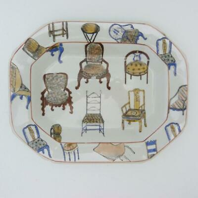 Rectangular Chinese Porcelain Plate Decorated With European Chairs, Signed