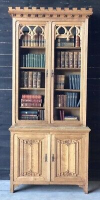 Gothic Oak Library Bookcase, Mid 19th Century, Book Shelves. Bleached Oak