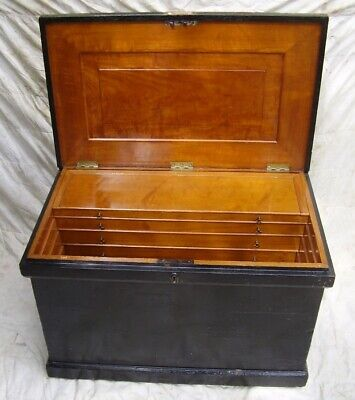 Victorian pine cabinet maker carpenter tool chest pine box coffee table LNER