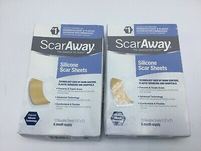 """Scaraway Silicone Scar Sheets 12 Sheets 1.5""""x3"""" Exp 2022 (12 Month Supply)2 Box"""