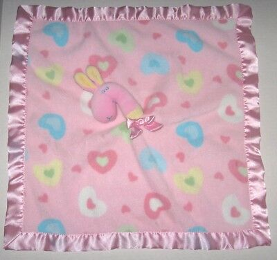 Blankets & Beyond Pink Horse Pony Blue Yellow Hearts Baby Security Blanket Lovey