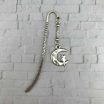 Handmade Silver Cat On Moon Charmed Bookmark