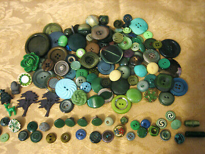 Large Lot Of Shades Of Green Buttons, Lg To Small Fabric, Metal,Plastic,Glass