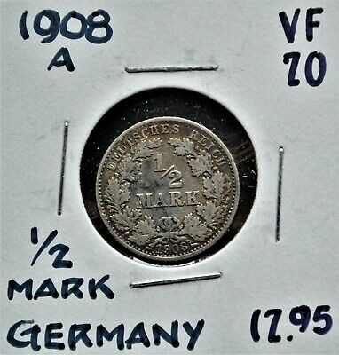1908-A Germany 1/2 Mark VF-20