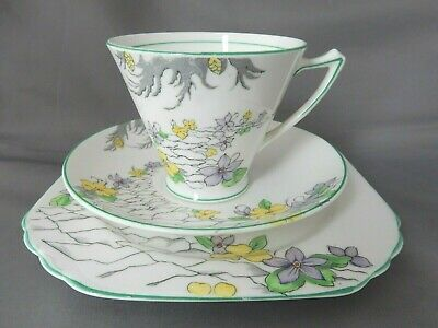 """Lovely Vintage China Tea Set Trio By Heathcote China in """"The Pathway"""" Pattern"""