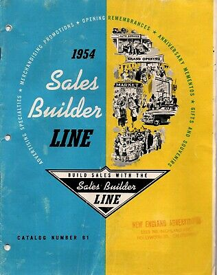 Sales Builder Line Ad Pencils-Pens-Knives-Openers-Bullet Pencils Catalog 1954