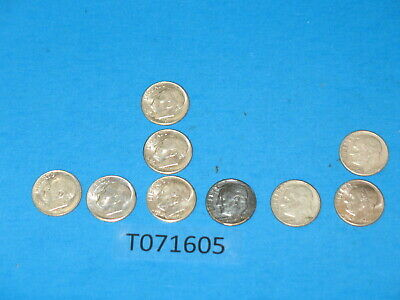 assortment -  lot of 9 - 90% Coin Silver Kennedy dime US currency circulated