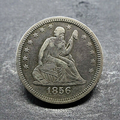 1856 Liberty Seated Silver Quarter 25c VG Condition *Low Mintage*   SN1009