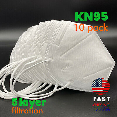 [10 PACK] KN95 5-LAYER Disposable Medical Face Mask CE Certified PM2.5 Masks