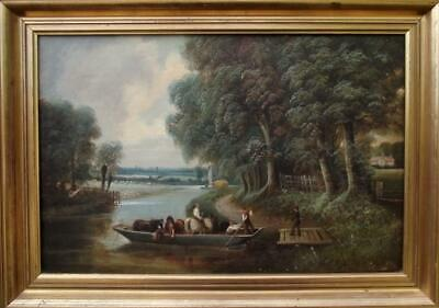 RICHARD HENRY NIBBS 1816-1893 Antique British Landscape Oil Painting THE THAMES