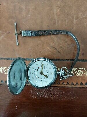 RNIB Braille Pocket Watch In Working Order With Leather Fob Strap And T-bar