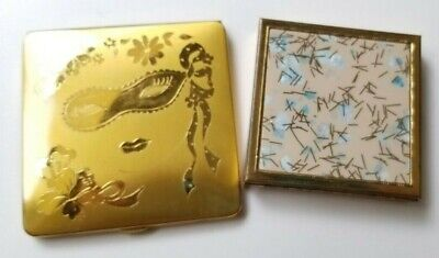 Two VINTAGE COMPACTS Zell Fifth Ave CONFETTI and OPERA THEMED COMPACT