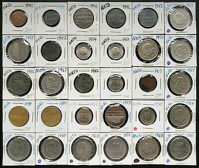 Lot of 30x Netherlands Coins - Various Dates & Denominations