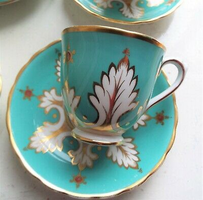 Antique Royal Chelsea duckegg blue & gold- Teacup & Saucer  HEAVEN!