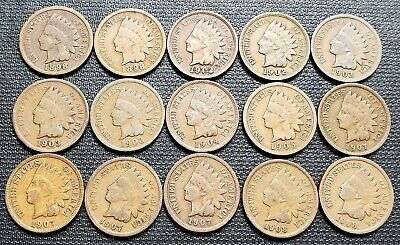 Lot of 15x USA Indian Head Pennies - Dates: 1898 to 1908
