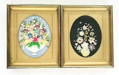 Lot of 2 Vtg 3D Real Seashells Shell Art Floral Bouquet Shadowbox Pictures Gold