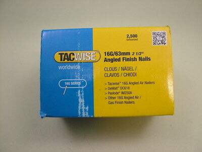 2nd fix collated angled brad nails Tacwise brand 16 gauge 63mm box of 2500
