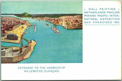 1915 PPIE San Francisco Expo Postcard Painting of Curacao / Netherlands Pavilion