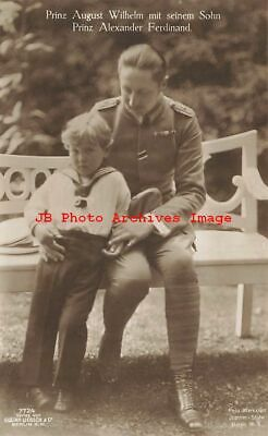 German Royalty, RPPC, Prince August Wilhelm of Prussia & Young Boy Alexander