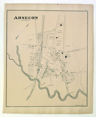 1878 Original Lithograph Map of Absecon New Jersey near Atlantic City