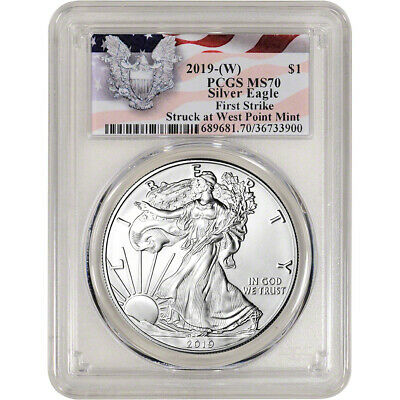 2019-(W) American Silver Eagle - PCGS MS70 - First Strike Red Flag Label