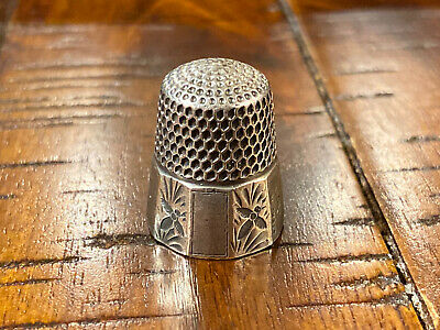 Antique Thimble Sterling Stern Bros. 10 Panel