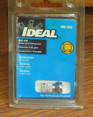Ideal #85-035 RG-59 F Twist-On Connector - 9 Pieces
