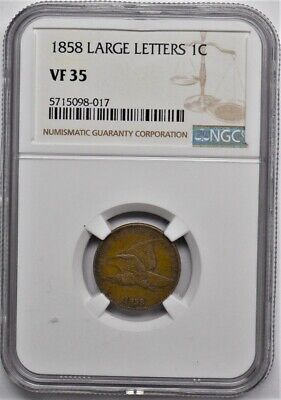 1858 Large Letters Flying Eagle Cent Ngc Vf35