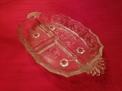 Fostoria Baroque Chintz Etching Large 3 part Relish Dish