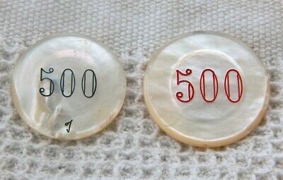 Vintage 2 Different Large Mother Of Pearl Cream Color European $500 Casino Chips