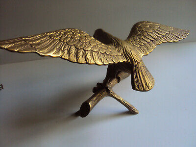 """Brass Eagle Perched on a Limb Statue Figurine ~ 16"""" Wing Span"""