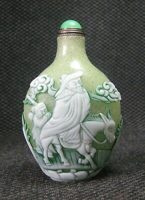 Chinese Traditional Carve Old Man Design Glass Snuff Bottle..**+