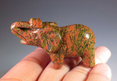 "2"" Natural Unakite Gemstone Elephant Carving - Brazil *9478"