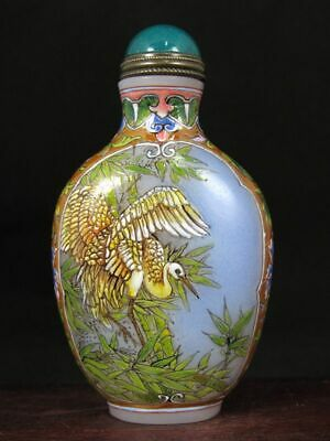 Fine Chinese Heron Swallow Hand Painted Peking Enamel Glass Snuff Bottle