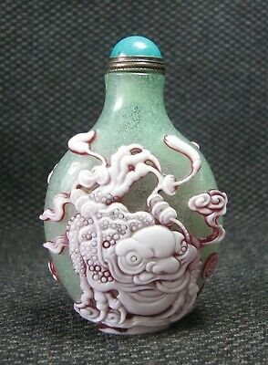 Chinese Seiko Carve Kylin And Toad Design Glass Snuff Bottle//*****