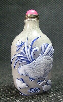 Chinese Delicate Carve Cock Design Glass Snuff Bottle--***